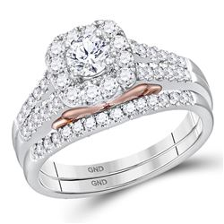 1 CTW Diamond Bellissimo Halo Bridal Engagement Ring 14KT White Gold - REF-142W4K