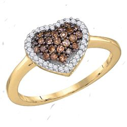0.33 CTW Cognac-brown Color Diamond Heart Love Ring 10KT Yellow Gold - REF-19W4K