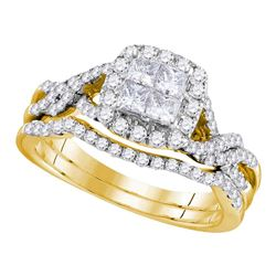 1.04 CTW Princess Diamond Bridal Engagement Ring 14KT Yellow Gold - REF-86X2Y