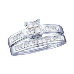 1 CTW Princess Diamond Bridal Engagement Ring 14KT White Gold - REF-109H4M