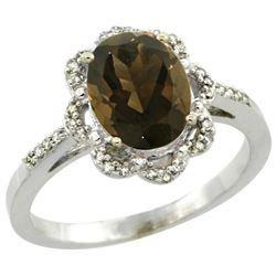 Natural 1.85 ctw Smoky-topaz & Diamond Engagement Ring 14K White Gold - REF-38V6F