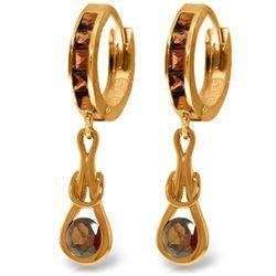 Genuine 2.6 ctw Garnet Earrings Jewelry 14KT Rose Gold - REF-75A2K