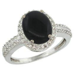 Natural 2.56 ctw Onyx & Diamond Engagement Ring 14K White Gold - REF-39A7V