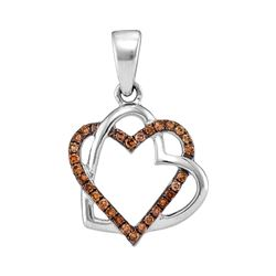0.25 CTW Cognac-brown Color Diamond Heart Love Pendant 10KT White Gold - REF-16X4Y