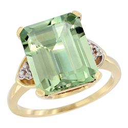 Natural 5.44 ctw green-amethyst & Diamond Engagement Ring 14K Yellow Gold - REF-45H5W