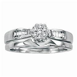 0.25 CTW Diamond Flower Cluster Bridal Engagement Ring 14KT White Gold - REF-41M9H
