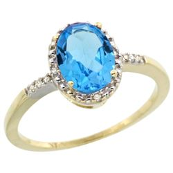 Natural 1.2 ctw Swiss-blue-topaz & Diamond Engagement Ring 14K Yellow Gold - REF-23M2H
