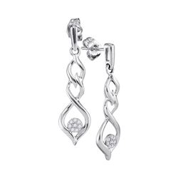 0.10 CTW Diamond Cluster Dangle Earrings 10KT White Gold - REF-19X4Y