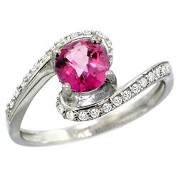 Natural 1.24 ctw pink-topaz & Diamond Engagement Ring 14K White Gold - REF-52K6R