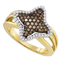 0.40 CTW Cognac-brown Color Diamond Star-shape Fancy Ring 10KT Yellow Gold - REF-34N4F