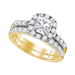 1.88 CTW Princess Diamond Bridal Engagement Ring 14KT Yellow Gold - REF-344M9H