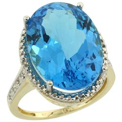 Natural 13.6 ctw Swiss-blue-topaz & Diamond Engagement Ring 14K Yellow Gold - REF-75G6M