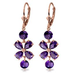 Genuine 5.32 ctw Amethyst Earrings Jewelry 14KT Rose Gold - REF-50W3Y