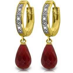 Genuine 6.64 ctw Ruby & Diamond Earrings Jewelry 14KT Yellow Gold - REF-50A2K