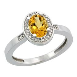 Natural 1.08 ctw Citrine & Diamond Engagement Ring 14K White Gold - REF-31M3H