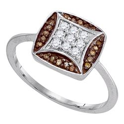 0.25 CTW Cognac-brown Color Diamond Kite Square Cluster Ring 10KT White Gold - REF-22X4Y