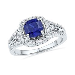 2.08 CTW Created Blue Sapphire Solitaire Ring 10KT White Gold - REF-36W2K