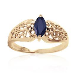 Genuine 0.20 CTW Sapphire Ring Jewelry 14KT Yellow Gold - REF-48W4Y