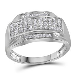 0.33 CTW Mens Pave-set Diamond Rectangle Cluster Ring 10KT White Gold - REF-34Y4X