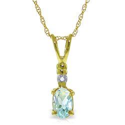 Genuine 0.46 ctw Aquamarine & Diamond Necklace Jewelry 14KT Yellow Gold - REF-22F7Z