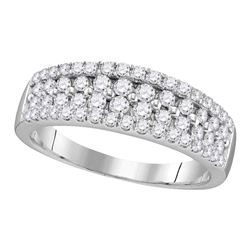 0.96 CTW Pave-set Diamond Double Two Row Ring 10KT White Gold - REF-67F4N