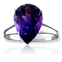 Genuine 5 ctw Amethyst Ring Jewelry 14KT White Gold - REF-34R3P