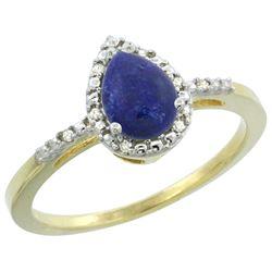 Natural 0.83 ctw lapis-lazuli & Diamond Engagement Ring 10K Yellow Gold - REF-17M5H