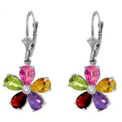 Genuine 4.43 ctw Pink Topaz, Citrine & Amethyst & Diamond Earrings Jewelry 14KT White Gold - REF-50R
