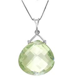 Genuine 8.5 ctw Green Amethyst Necklace Jewelry 14KT White Gold - REF-26N9R