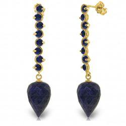 Genuine 29.2 ctw Sapphire Earrings Jewelry 14KT Yellow Gold - REF-89F9Z