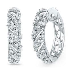 0.16 CTW Diamond Diagonal Hoop Earrings 10KT White Gold - REF-22K4W
