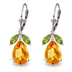 Genuine 13 ctw Citrine & Peridot Earrings Jewelry 14KT White Gold - REF-61M2T