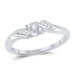 0.10 CTW Diamond 3-stone Bridal Engagement Promise Ring 10KT White Gold - REF-14H9M