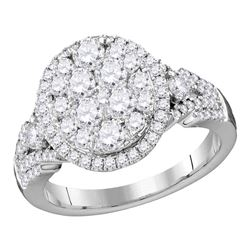 1.53 CTW Diamond Cluster Bridal Engagement Ring 14KT White Gold - REF-149Y9X