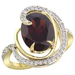 Natural 6.53 ctw garnet & Diamond Engagement Ring 14K Yellow Gold - REF-80K7R