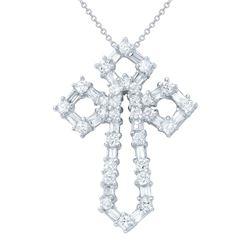 1.48 CTW Diamond Necklace 18K White Gold - REF-140F7N