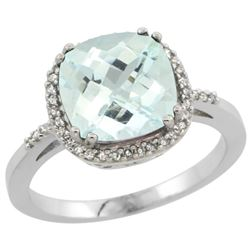 Natural 3.11 ctw Aquamarine & Diamond Engagement Ring 14K White Gold - REF-61F3N