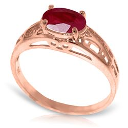 Genuine 1.15 ctw Ruby Ring Jewelry 14KT Rose Gold - REF-35M9T
