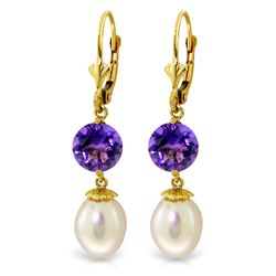 Genuine 11.10 ctw Pearl & Amethyst Earrings Jewelry 14KT Yellow Gold - REF-26V6W