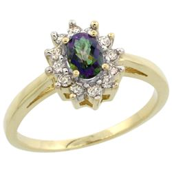 Natural 0.67 ctw Mystic-topaz & Diamond Engagement Ring 14K Yellow Gold - REF-48V6F