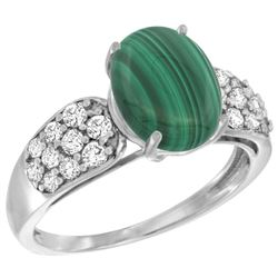 Natural 3.1 ctw malachite & Diamond Engagement Ring 14K White Gold - REF-56W2K