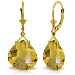 Genuine 17 ctw Citrine Earrings Jewelry 14KT Yellow Gold - REF-38K2V