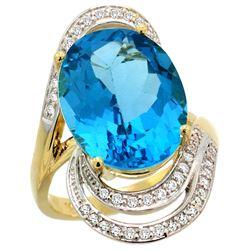 Natural 11.2 ctw swiss-blue-topaz & Diamond Engagement Ring 14K Yellow Gold - REF-95F8N