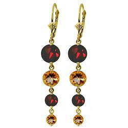 Genuine 7.8 ctw Garnet & Citrine Earrings Jewelry 14KT Yellow Gold - REF-46F3Z