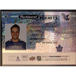 2018-19 Parkhurst Permits Auston Matthews Card #PA-12