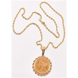 1895 $5 Gold Coin Pendant on 14 Kt Necklace