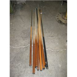 ASSORTED POOL CUES