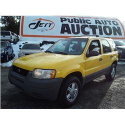 E2 --  2002 FORD ESCAPE XLS , Yellow , 190718  KM's