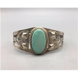 Early Turquoise and Sterling Silver Bracelet
