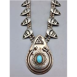 Unique Sterling Silver and Turquoise Necklace